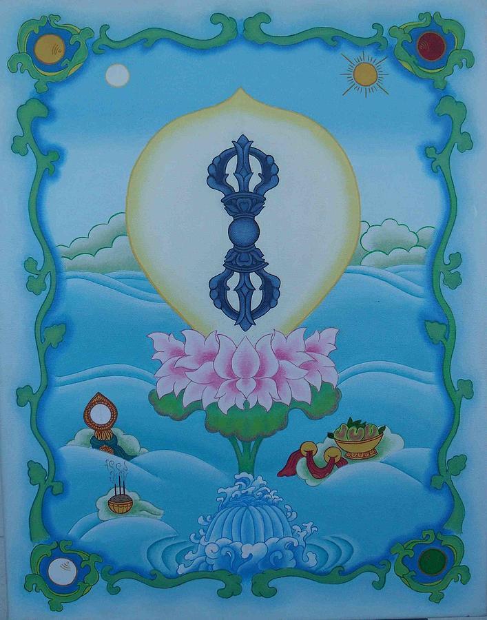 Buddhist Painting - Blue Vajra by Andrea Nerozzi