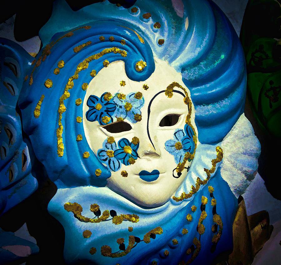 Carnival Photograph - Blue Venetian Mask by Jon Berghoff