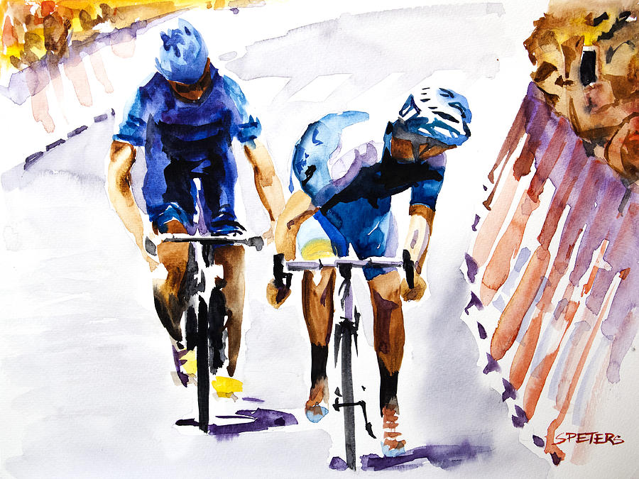Le Tour De France Painting - Blue Versus Blue by Shirley  Peters