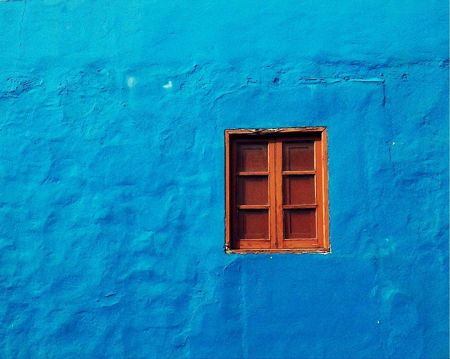 Street Photography Pastel - Blue Wall by Gustavo Garcia