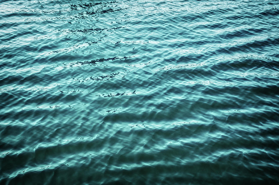 Blue Water Surface With Smooth Wave Photograph by Assalve