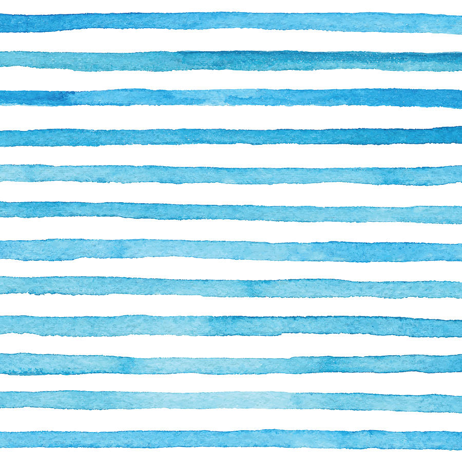 Blue Watercolor Stripes Pattern Drawing by Saemilee