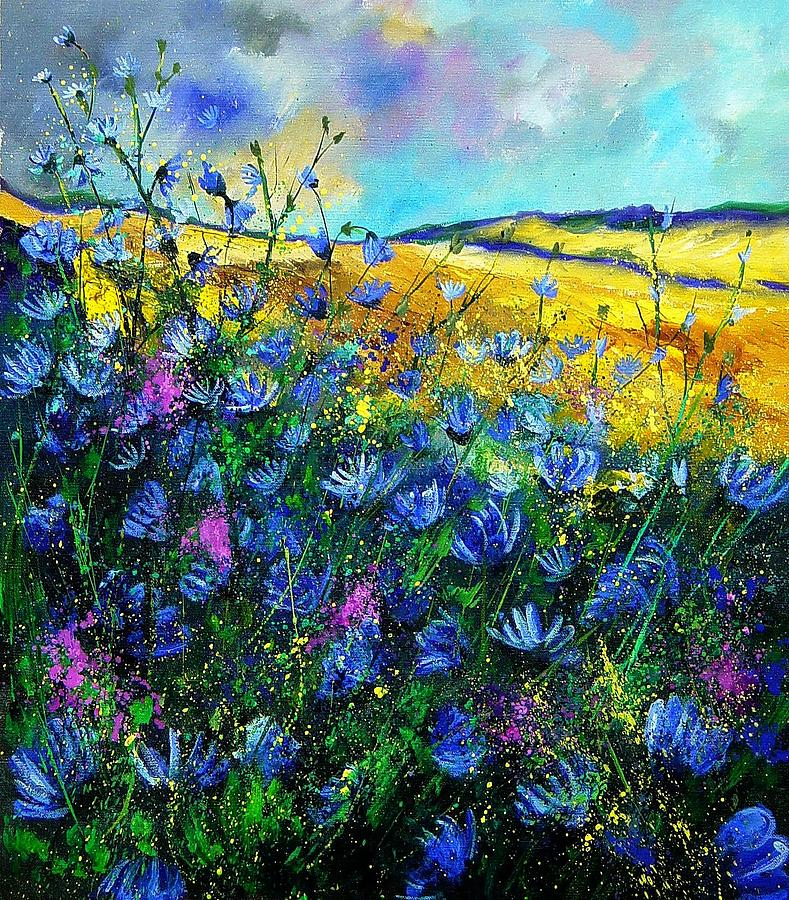 Flowers Painting - Blue wild chicorees by Pol Ledent