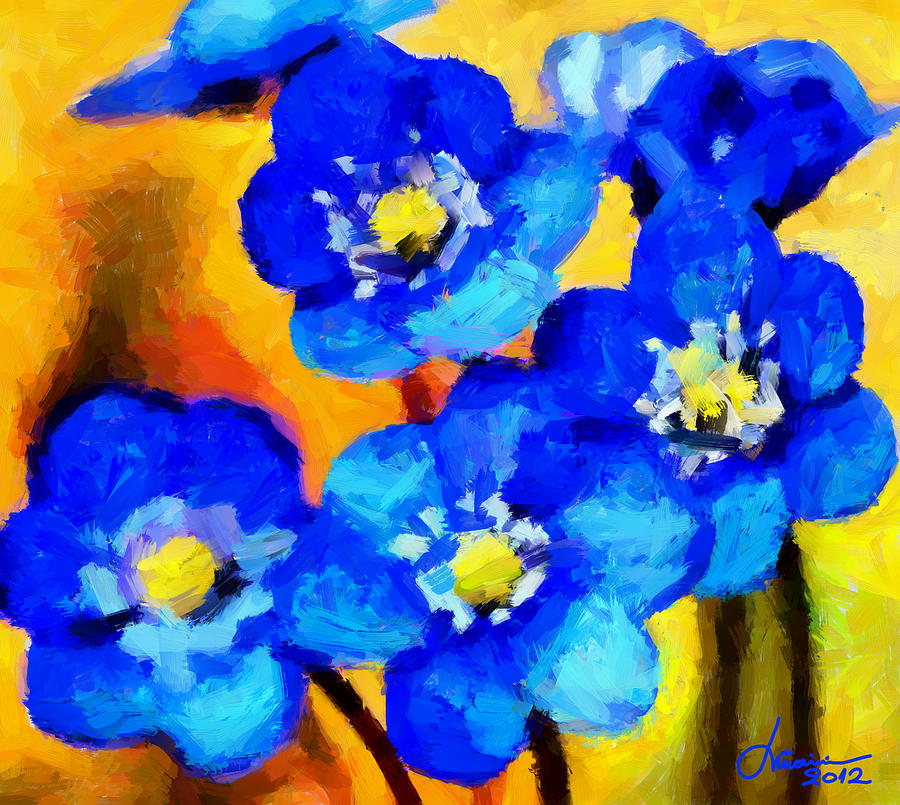Flowers Digital Art - Blue Wild Flowers Tnm by Vincent DiNovici
