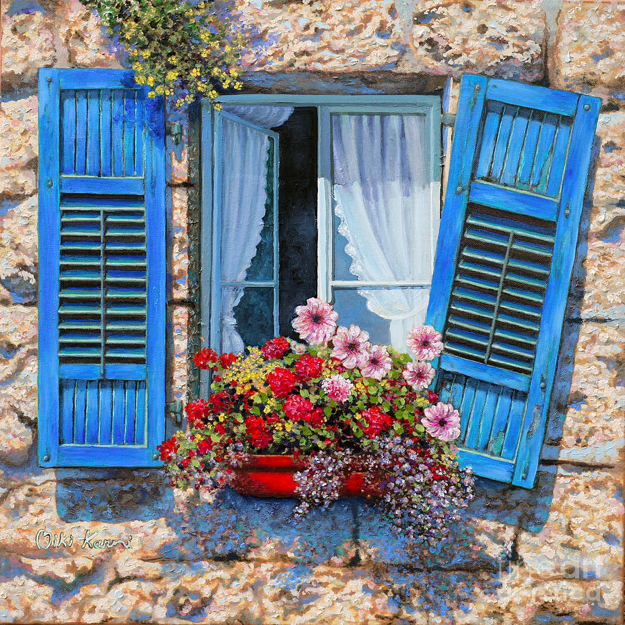 Blue window painting by miki karni for Painting on glass windows with acrylics