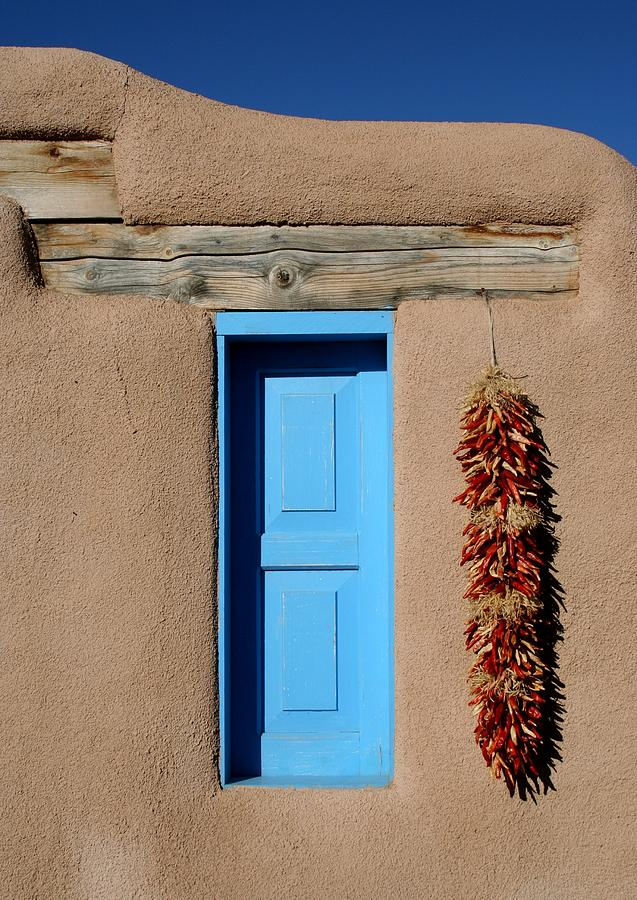Taos Photograph - Blue Window Of Taos by Heidi Hermes