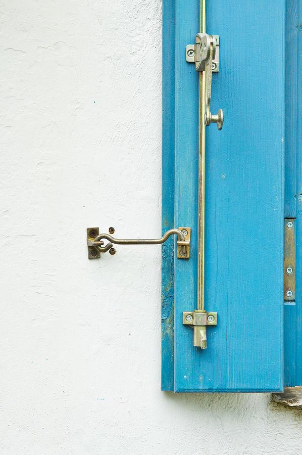 Blue Window Shutter Photograph