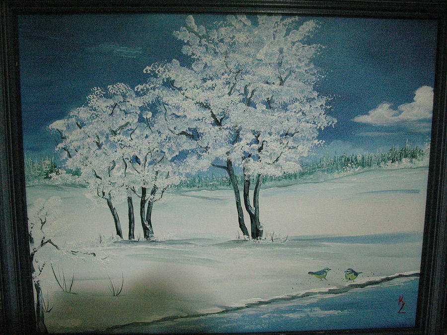 Blue Winter Painting by Kathy Livermore