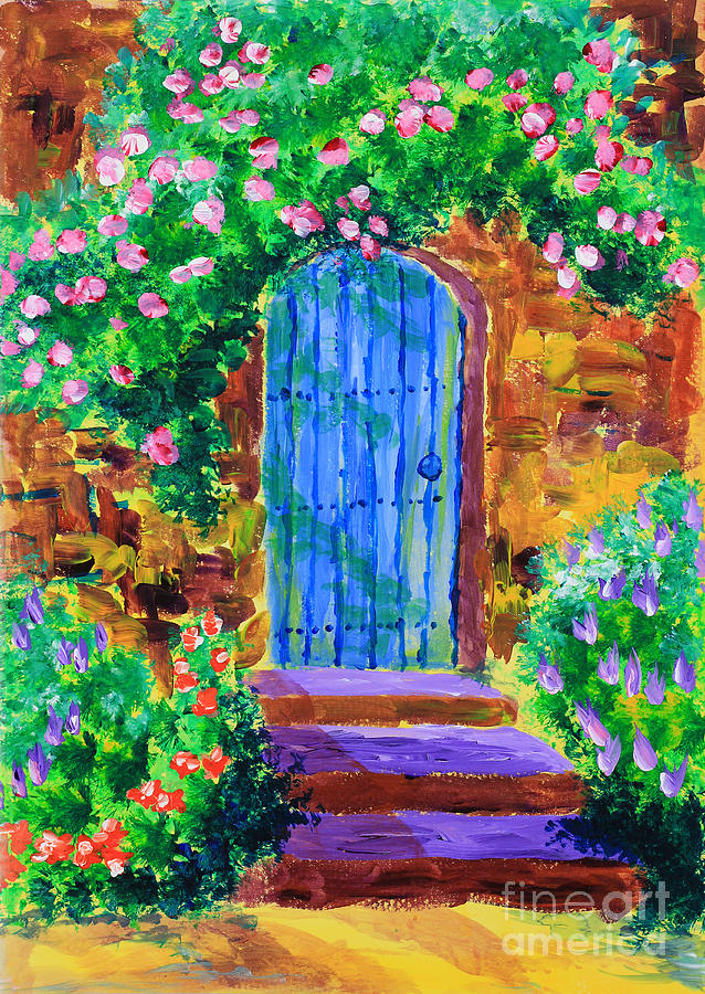 Blue Door Painting - Blue Wooden Door to Secret Rose Garden by Beverly Claire Kaiya