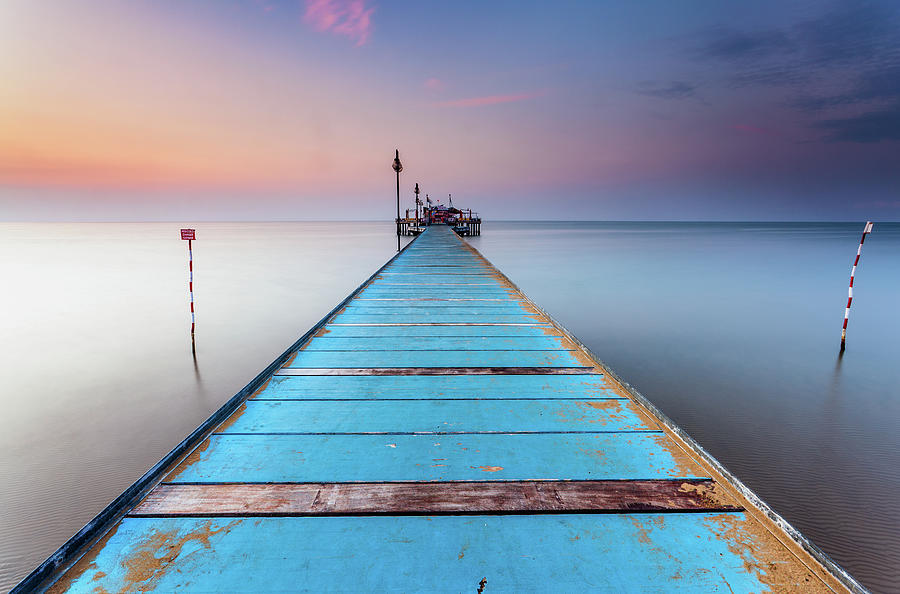 Blue Wooden Pier Photograph by Stee