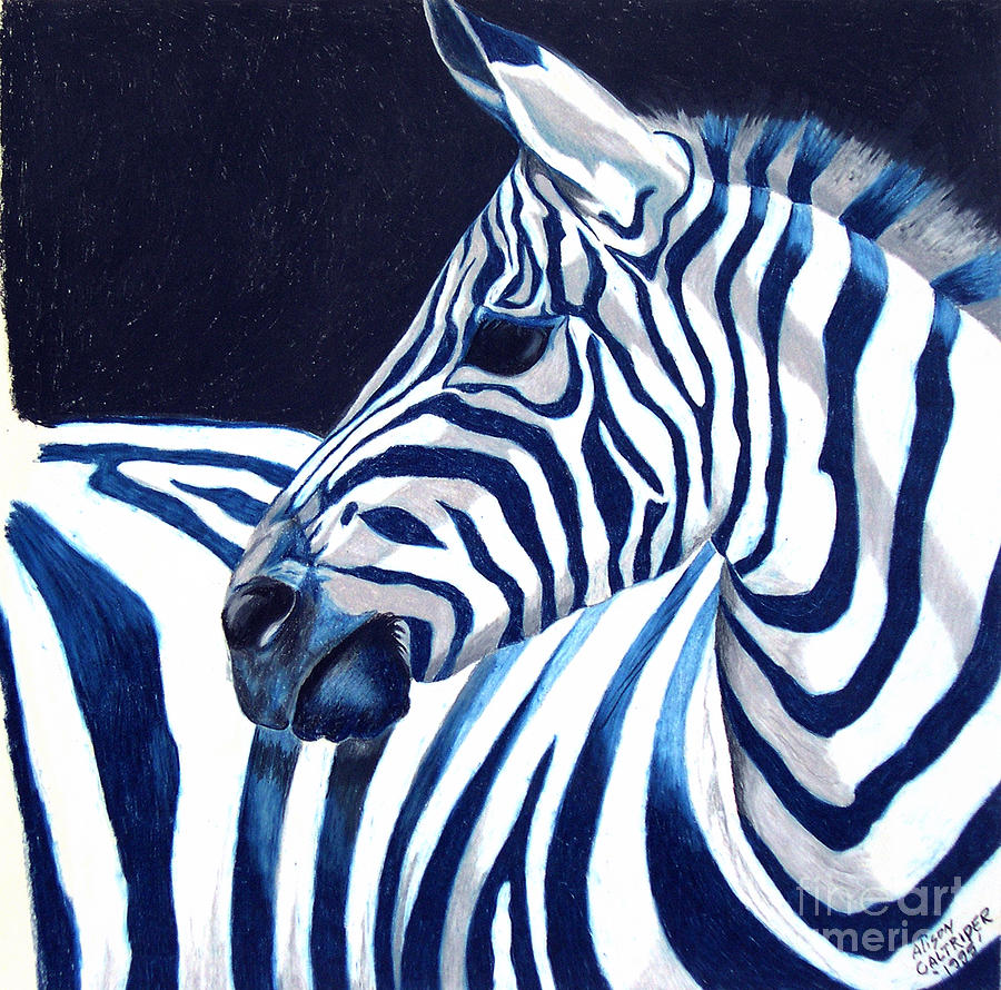 Blue Zebra Painting By Alison Caltrider