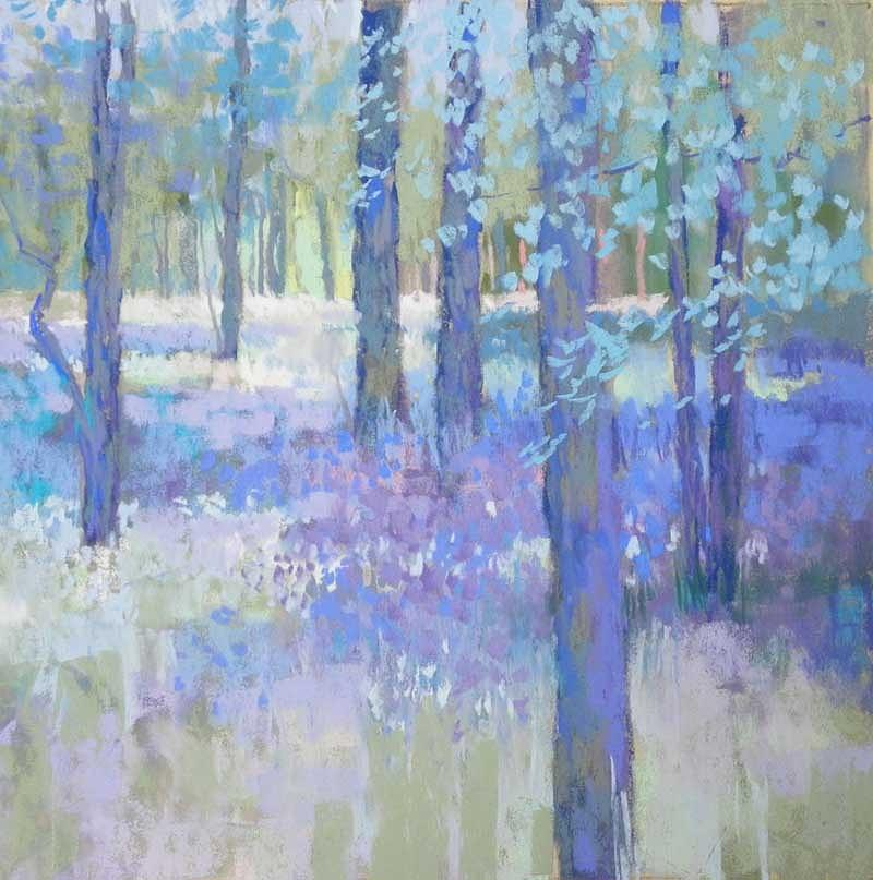 Woodlands Painting - Bluebell Corner by Jackie Simmonds