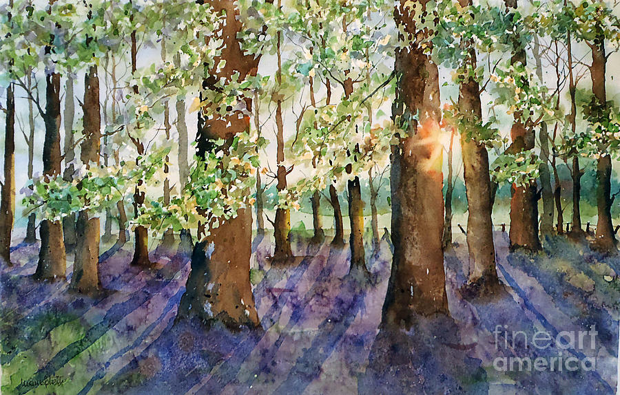 Landscapes Painting - Bluebell fields forever by Marisa Gabetta