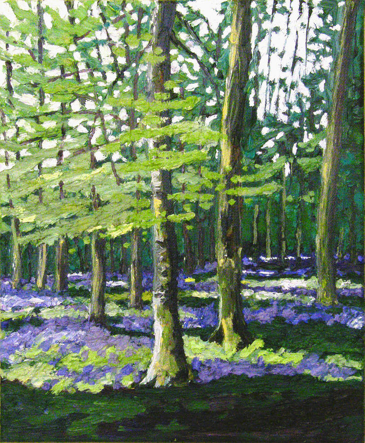 Woodland Painting - Bluebell wood by Helen White