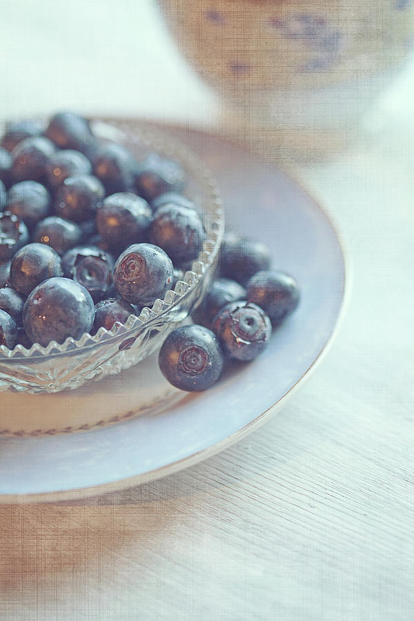 Blueberries In Glass Dish Photograph by Isabelle Lafrance Photography