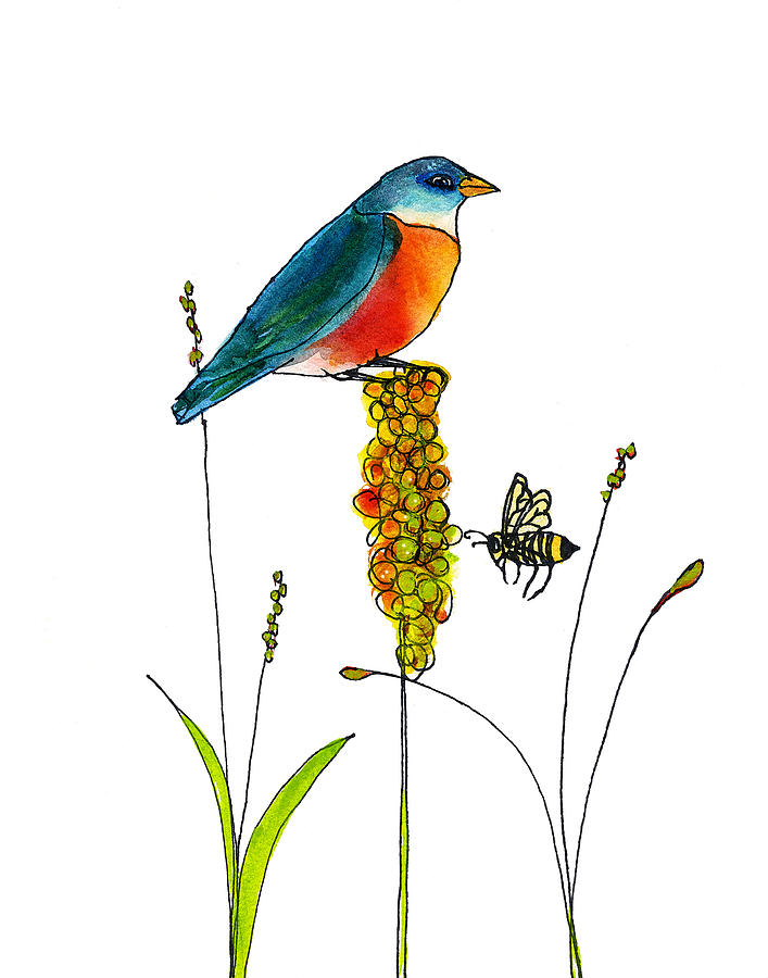 Bluebird And Bee Painting