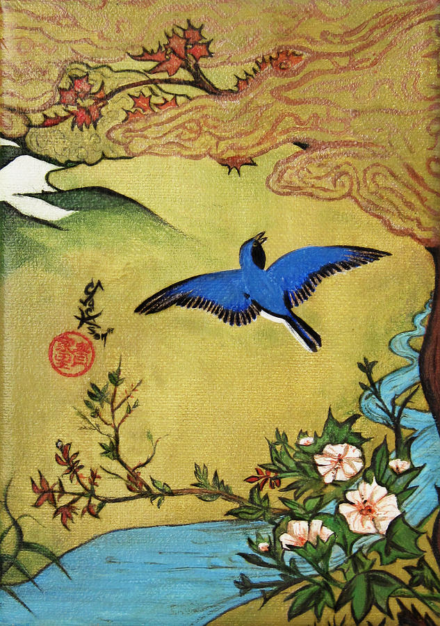 Bluebird Painting - Bluebird  by Carrie Jackson Glenn