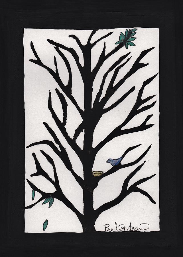 Bluebirds Painting - Bluebird In A Pear Tree by Barbara St Jean