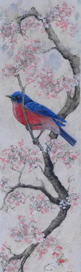 Bluebird Painting - Bluebird In Cherry Blossoms by Sandy Clift