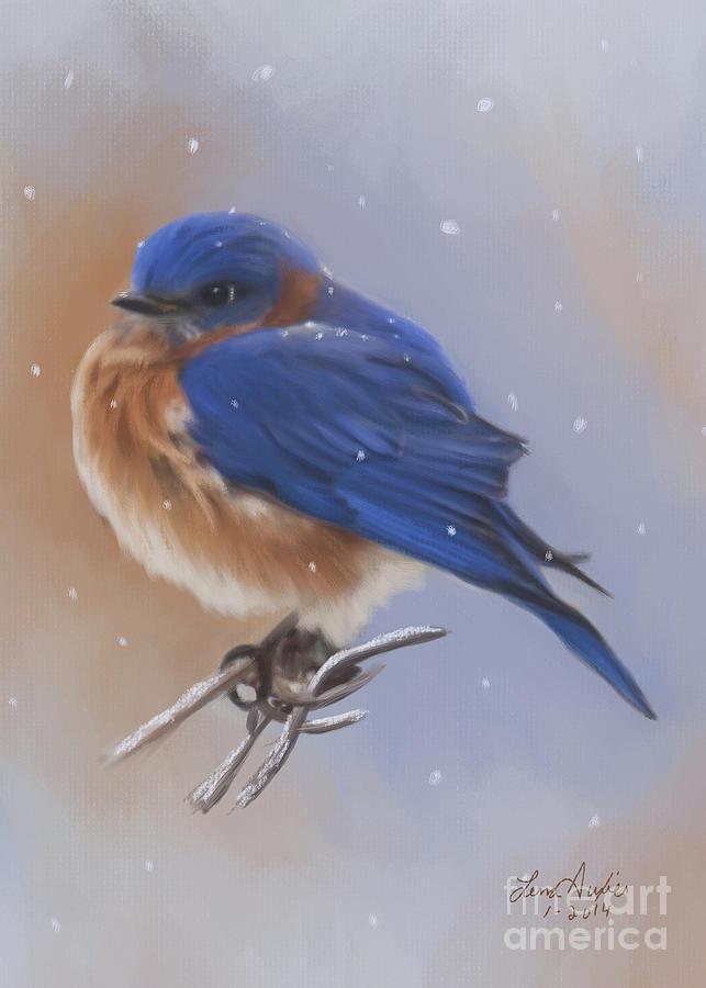 Bluebird Digital Art - Bluebird In The Snow by Lena Auxier