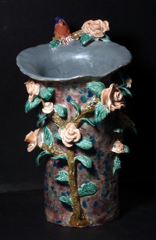 Bluebird Sculpture - Bluebird Rose Vase Hand Built In The Us by Debbie Limoli