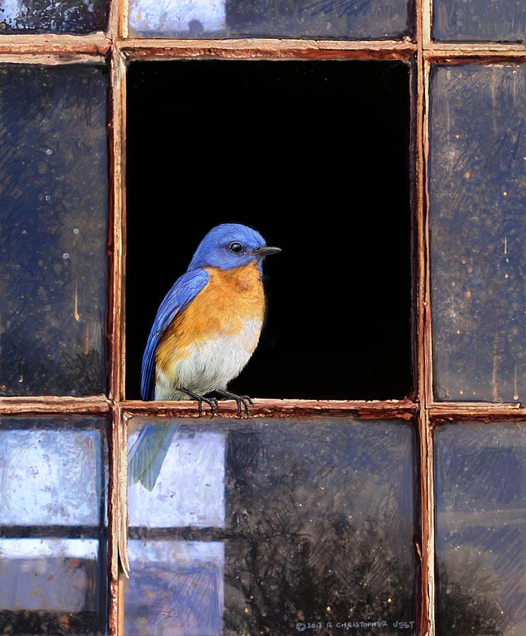 Bluebird Painting - Bluebird Window by R christopher Vest
