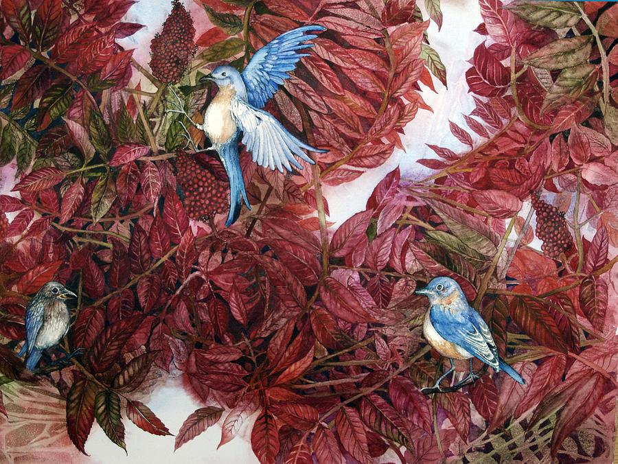Bluebirds Painting - Bluebirds Love Sumac by Helen Klebesadel