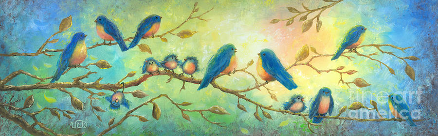 Birds Painting - Bluebirds On Branches by Vickie Wade