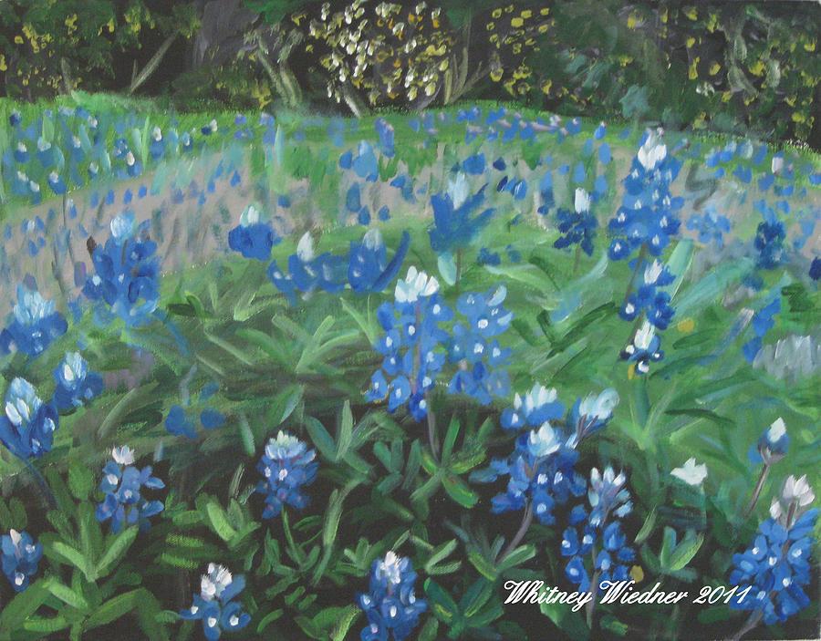 Bluebonnets Painting - Bluebonnet Field by Whitney Wiedner