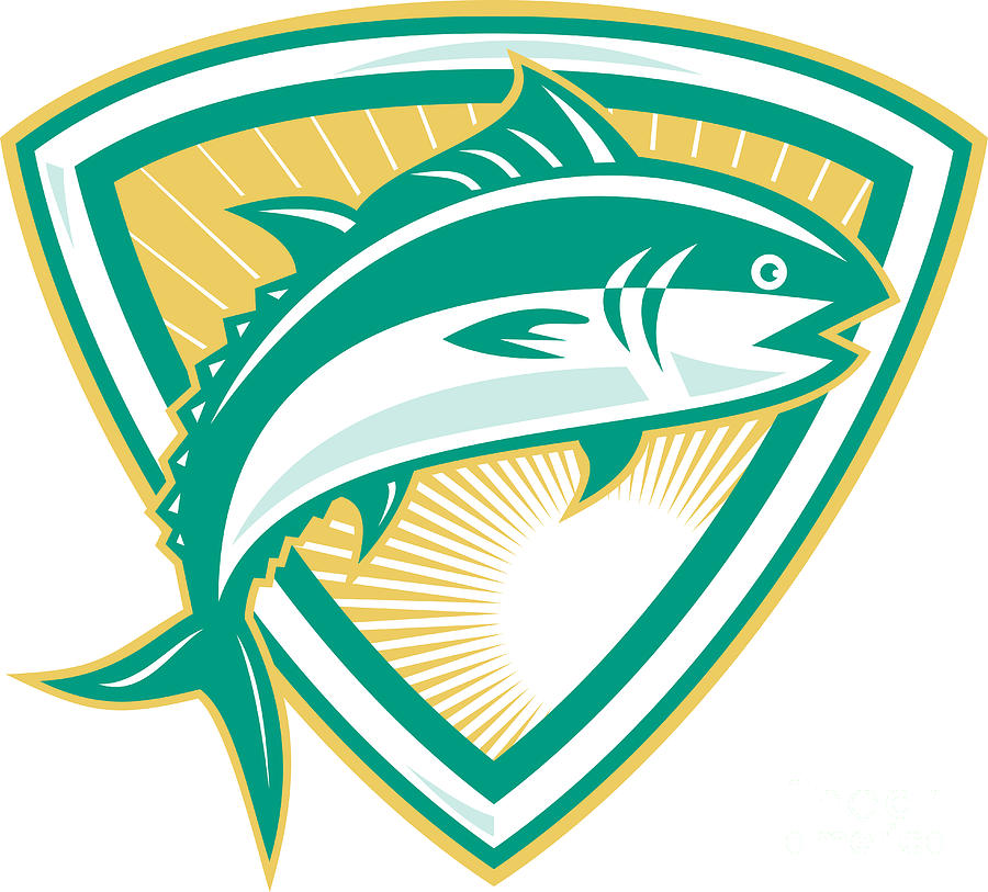 Bluefin Digital Art - Bluefin Tuna Fish Jumping With Shield Retro by Aloysius Patrimonio