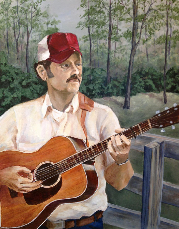 Guitar Painting - Bluegrass Picker by Janet Felts