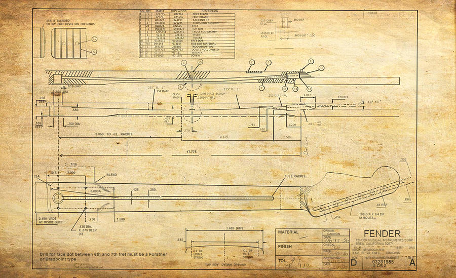 Fender Drawing - Blueprint For Rock And Roll by GCannon