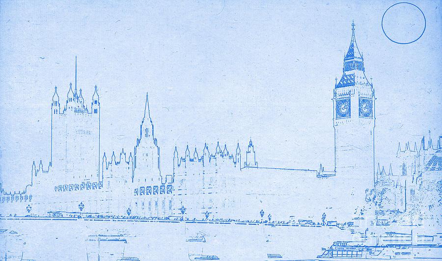 Captivating Big Ben Mixed Media   Blueprint London By Celestial Images