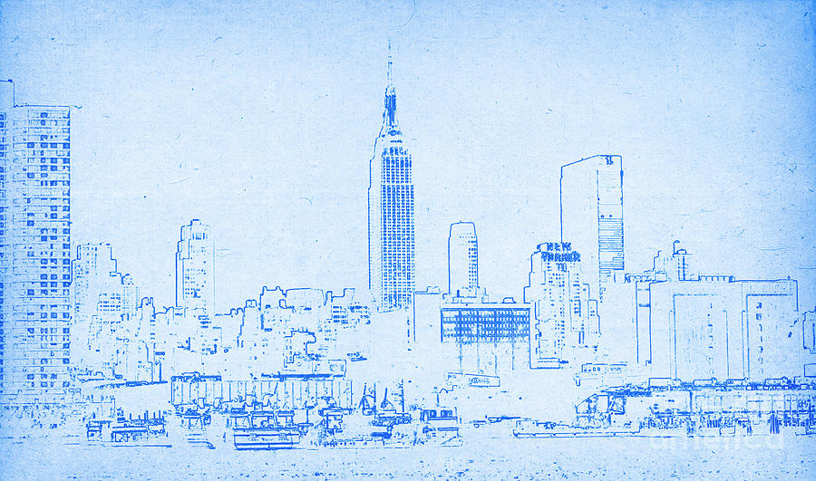 Blueprint of new york city digital art by celestial images malvernweather Gallery