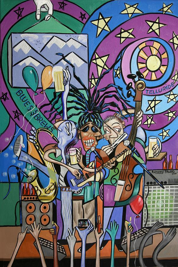 Blues Music Painting - Blues And Brews by Anthony Falbo