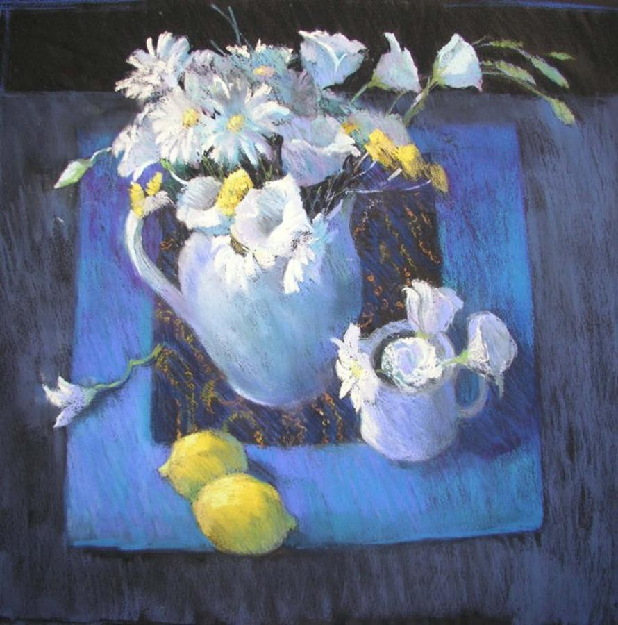 Still Life Painting - Blues And Lemons by Jackie Simmonds