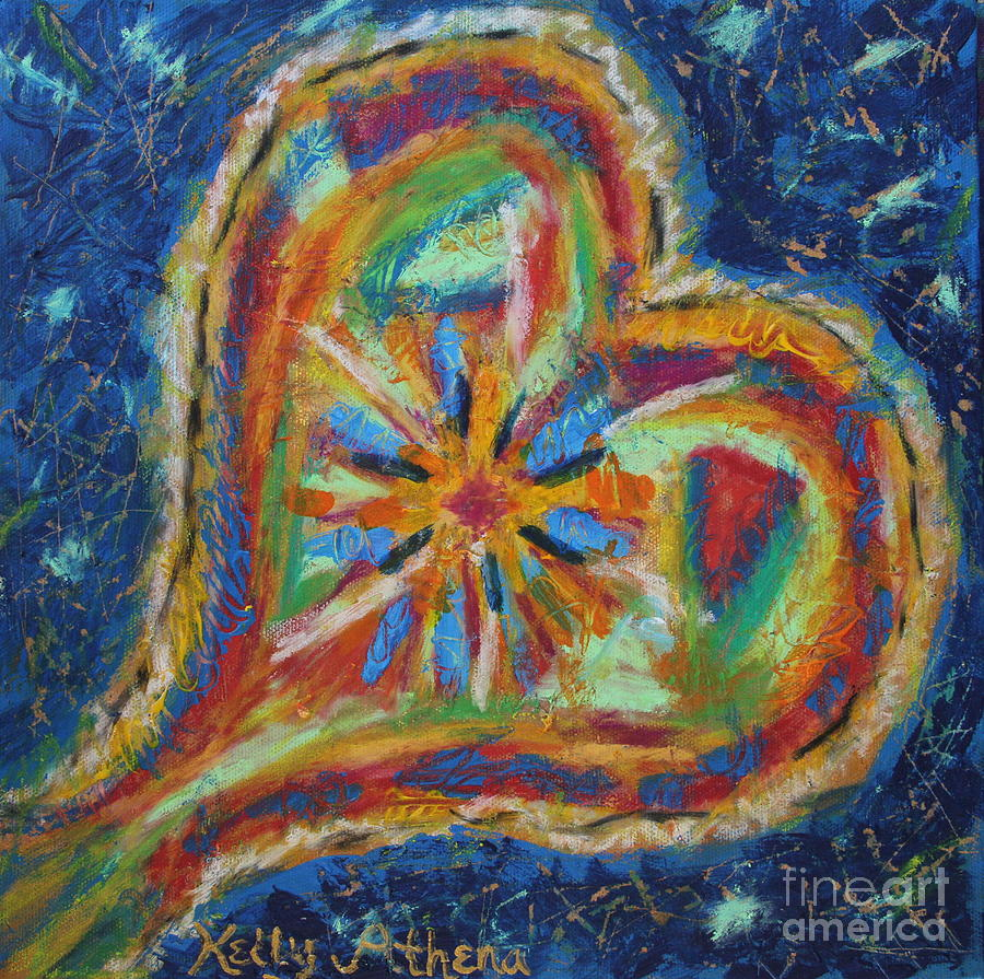 Colorful Heart Painting - Blues Heart by Kelly Athena
