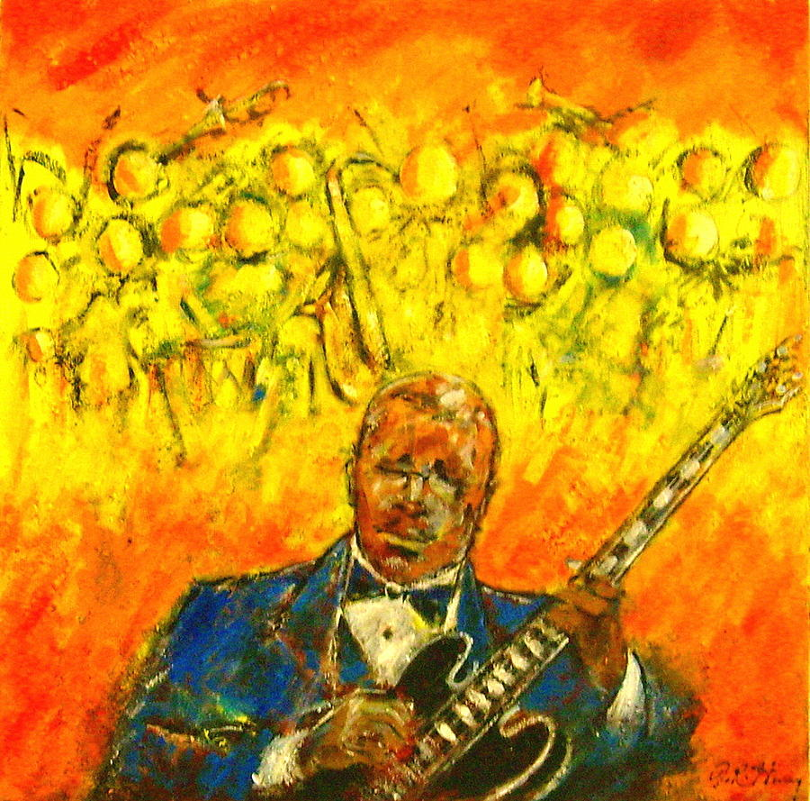 Guitarist Painting - Blues Man by Aaron Harvey