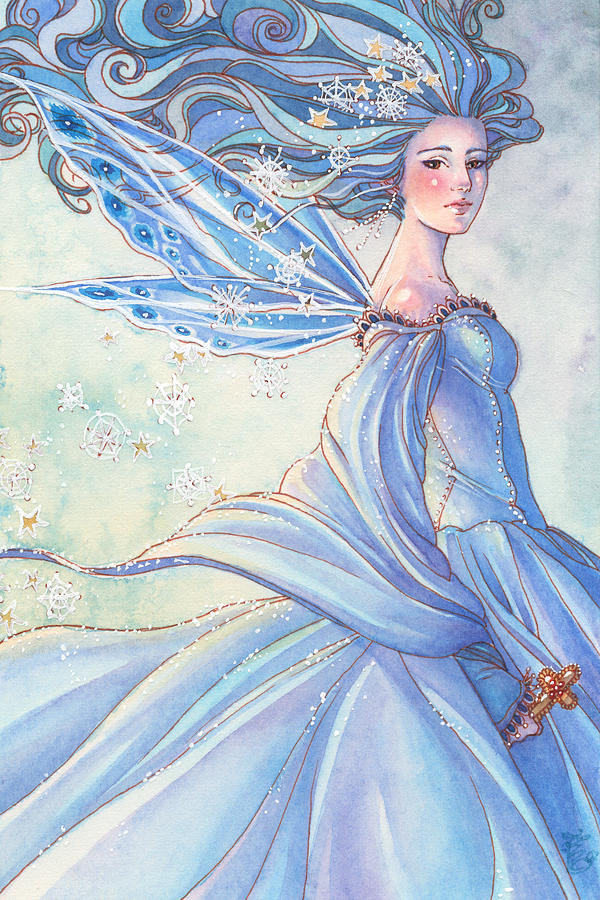 Fairy Painting - Blues Of Winter by Sara Burrier