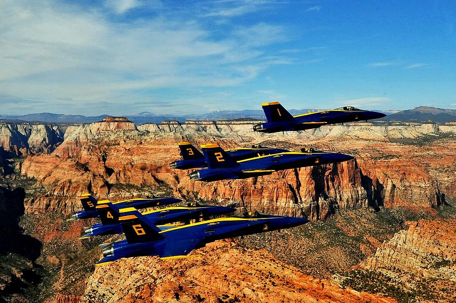 Blue Angels Photograph - Blues Over Zion by Benjamin Yeager