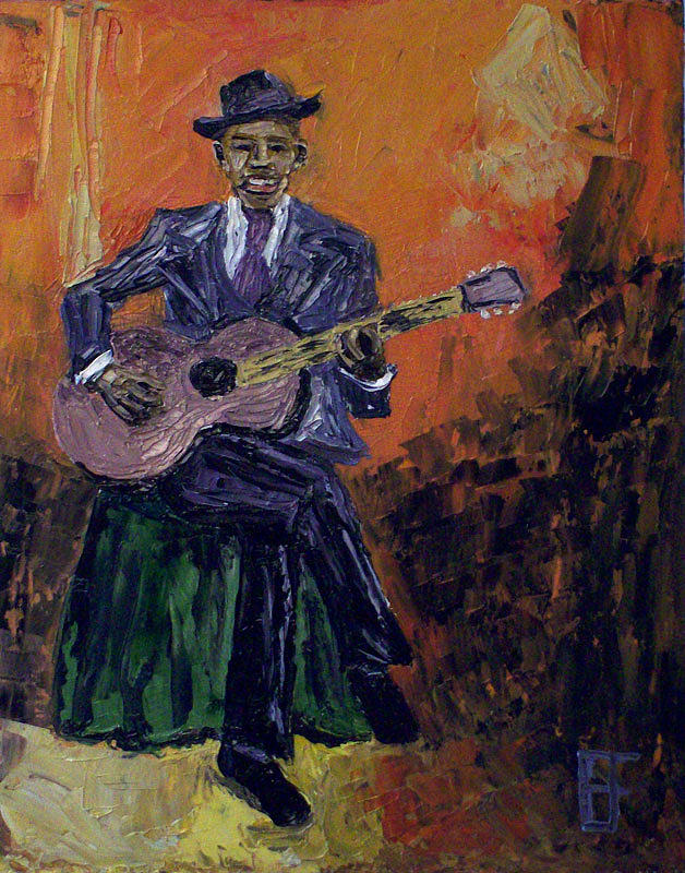 Billie Painting - Blues Singers Robert Johnson by Allen Forrest