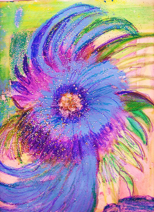 Flower Mixed Media - Blues With Swirls by Anne-Elizabeth Whiteway