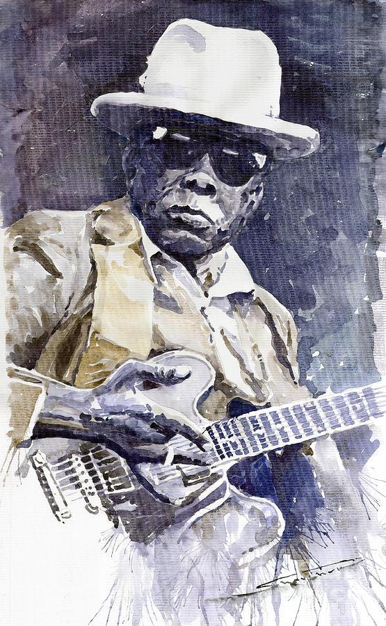 Watercolour Painting - Bluesman John Lee Hooker 3 by Yuriy  Shevchuk