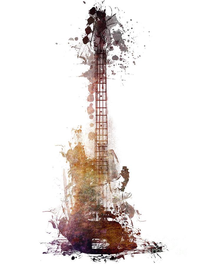 Guitar Digital Art - Bluess Guitar watercolor instrument by Justyna Jaszke JBJart