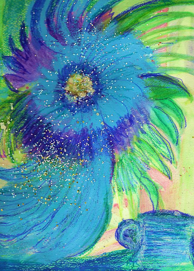 Blues Mixed Media - Bluesy Floral With Cup by Anne-Elizabeth Whiteway