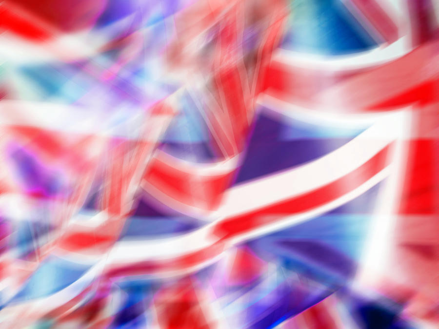 Blurred Motion Image Of British Flags Photograph by Doug Armand