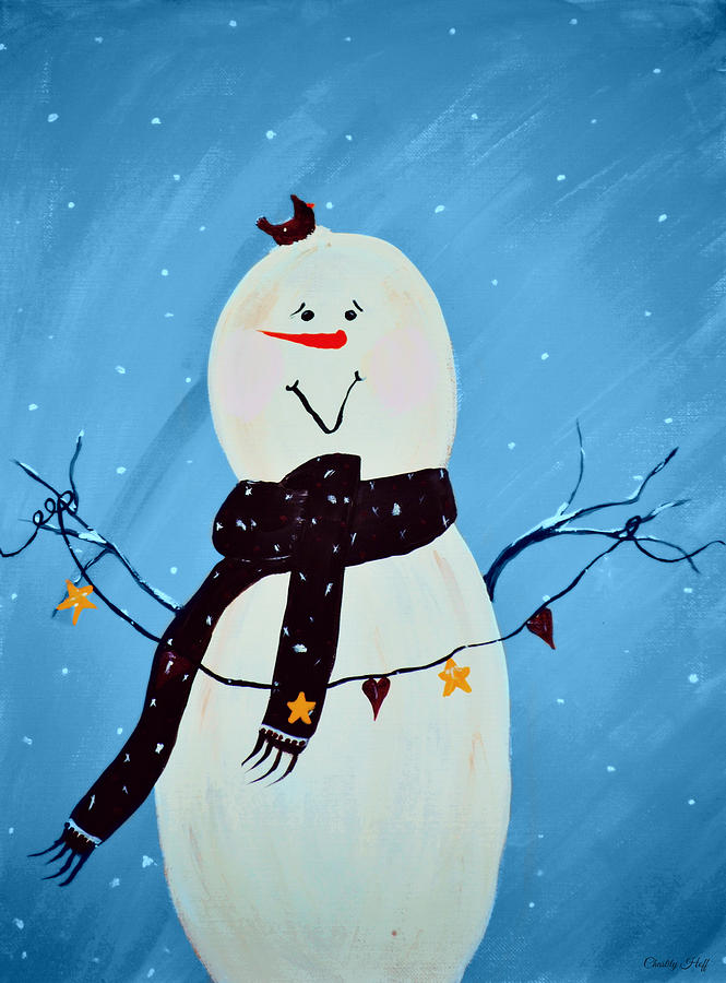 Snowman Painting - Blushing Snowman by Chastity Hoff