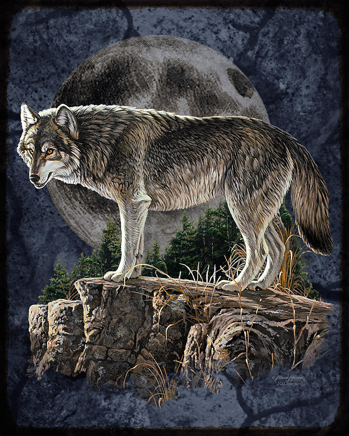 Bm Wolf Moon Painting By Jq Licensing