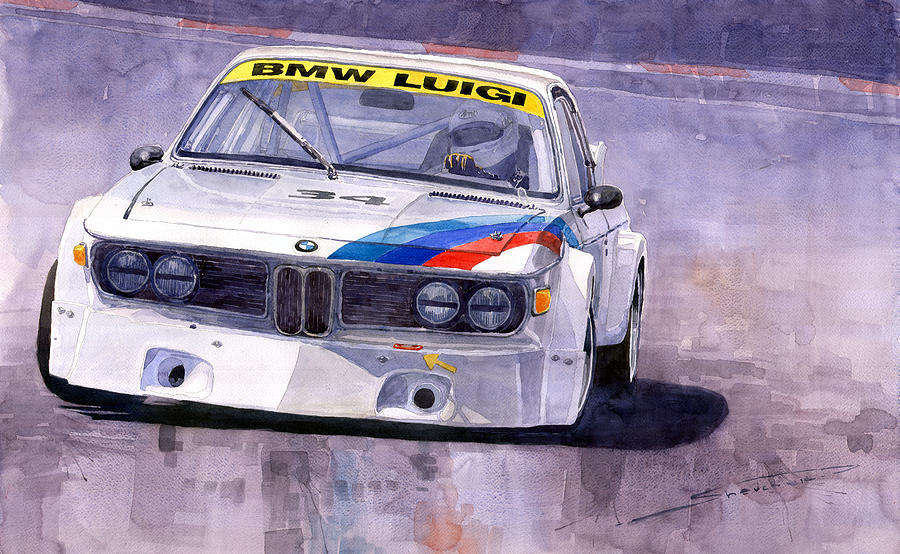 Watercolor Painting - Bmw 3 0 Csl 1972 1975 by Yuriy  Shevchuk