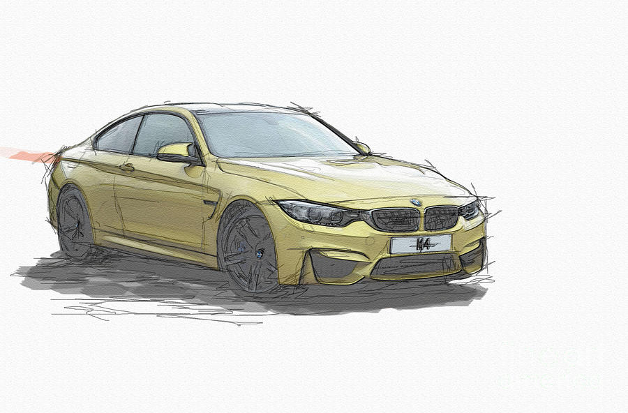 Bmw M4 Sketch Photograph By Roger Lighterness